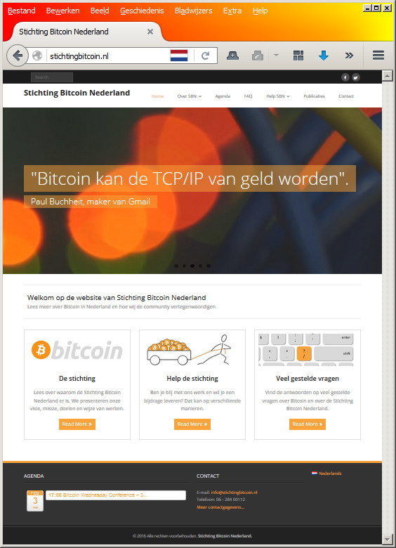 Website Stichting Bitcoin Nederland gebouwd door BitcoinUitleg
